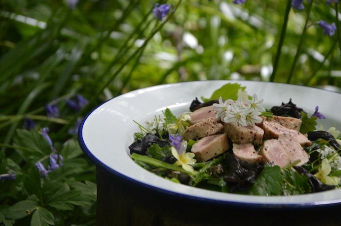 Wild food: Pan-fried saddle o'Rabbit with spring greens.
