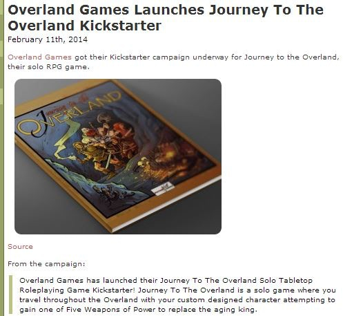 Journey To The Overland: A Solo Tabletop Roleplaying Game by Deano C