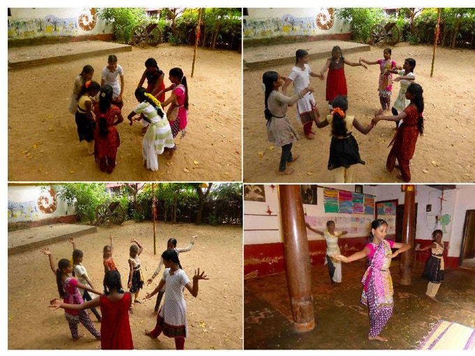 Girls dancing in a human mandala at the Mohanam Culture Centre, Auroville via Puducherry