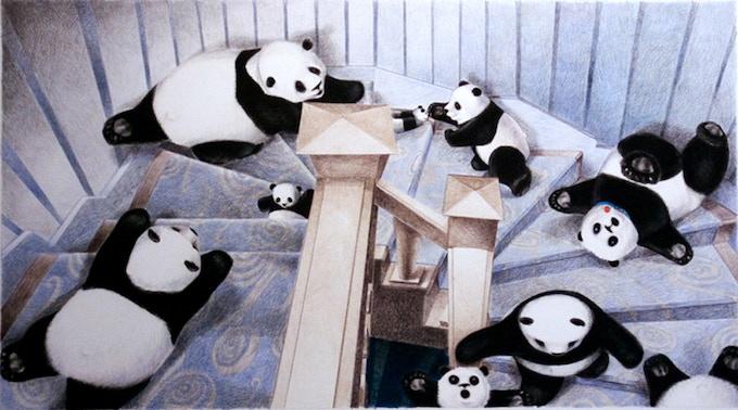 Pandas Tumbling down the stairs! A new original art reward.