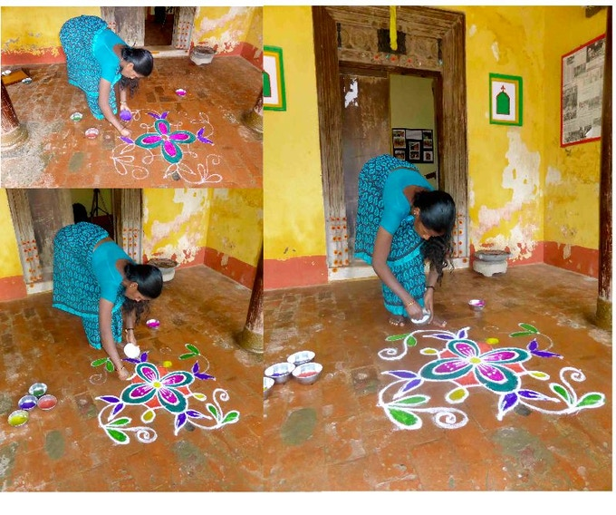 A small kolam being made. The eco art installation will feature a giant Kolam.