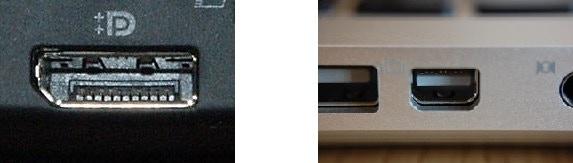 Full size DisplayPort (left) and Mini DisplayPort/Thunderbolt (right) connectors (image source: Wikipedia)