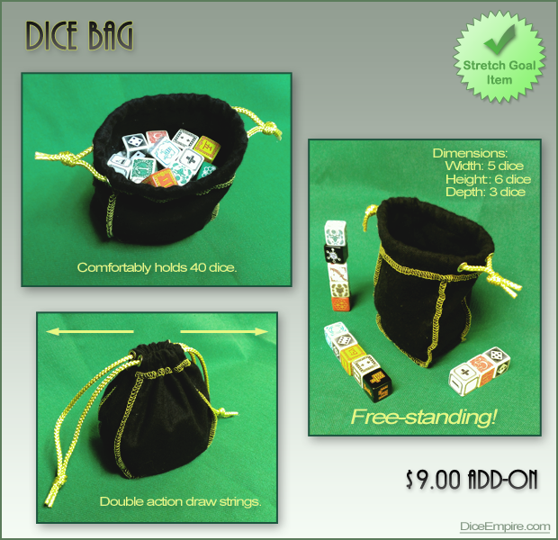 Free-standing black Dice Bag with gold trim.
