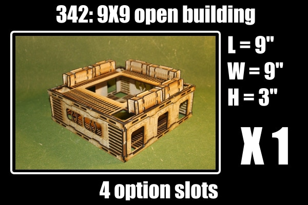 4 options slots for this kit, 1  9X9 building with 4 acrylic windows, + 6 containers
