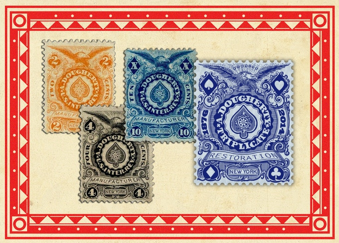 Old Revenue Stamps and new seal for the restored deck