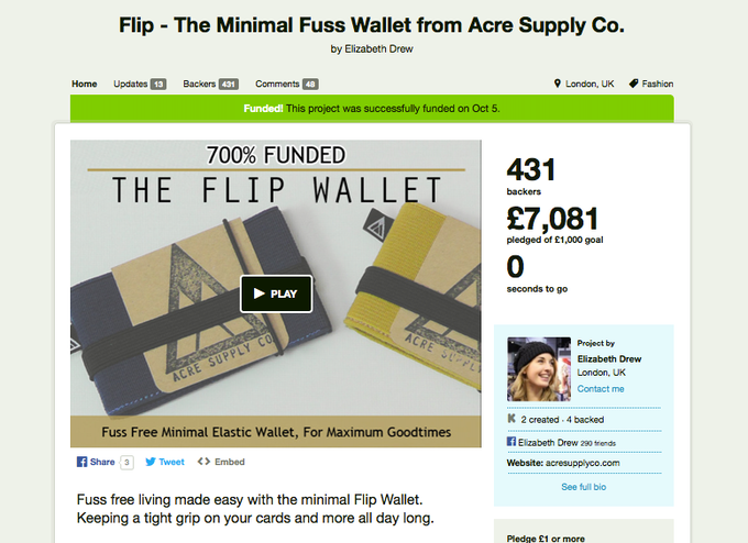 The original Flip Wallet project was 700% funded.