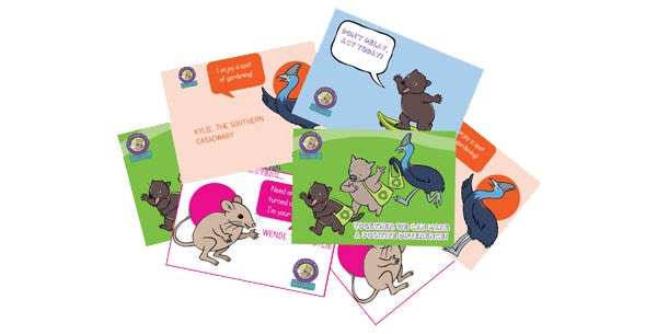 These fun postcards from the stationery pack could be yours!