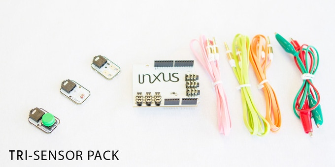 $25: You get (1) EasyPlug Shield, (1) light sensor, (1) button, (1) touch sensor with (2) alligator clips, and (3) connector cables.