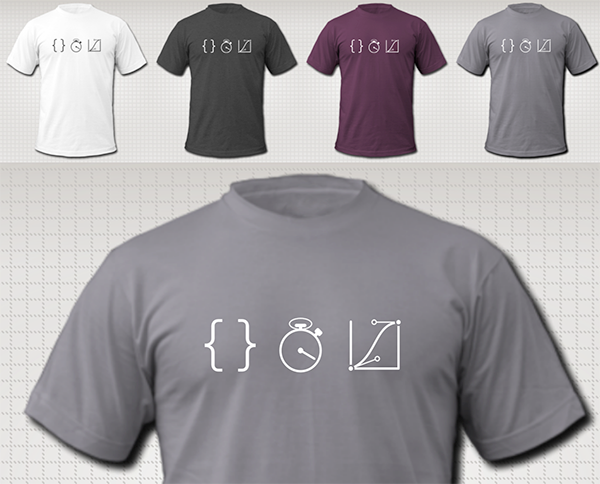 dark grey on white, white on heather-black, white on eggplant, and white on slate, for men