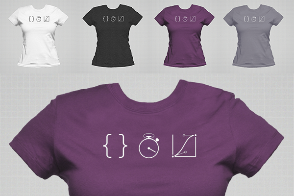 dark grey on white, white on heather-black, white on eggplant, and white on slate, for women