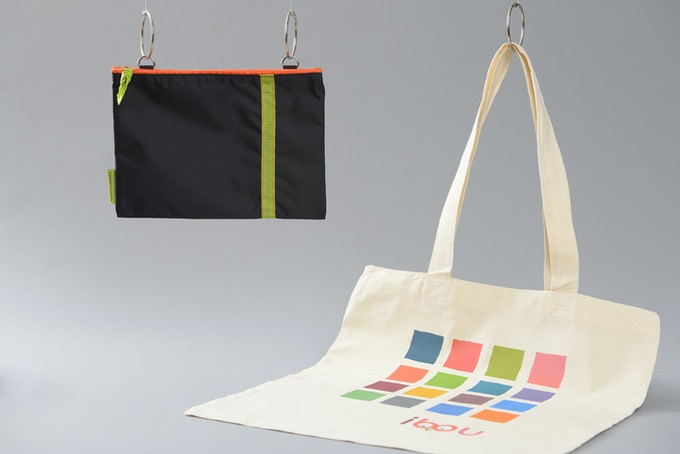 ibou pocket available in 6 different colours, with totebag