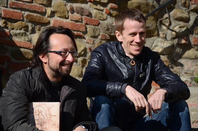 Alex Neuwahl and Pietro Polsinelli on the stairs of Vinci's tower.