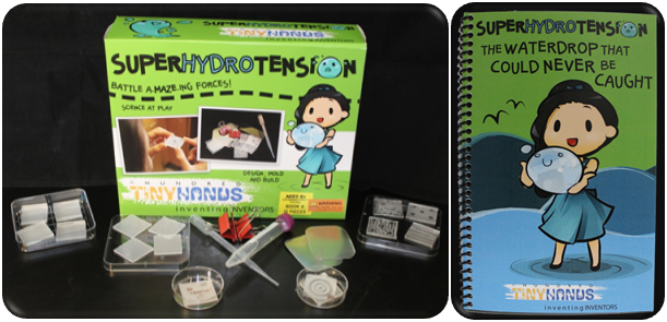 This SuperHydroTension Inventor Kit includes:  Superhydrophobic, plastic, and glass tiles, Superhydrophobic mazes, Water dispenser, Superhydrophobic mold, Make-it-yourself tools, and Storybook