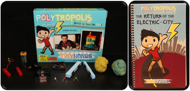 This Polytropolis Inventor Kit includes: Conductive dough, Insulating dough, Connecting platform pieces, Conductive tape, Magnetic tape LEDs, Buzzers, 9 volt battery and Storybook