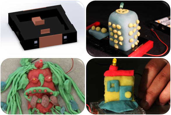 Connecting a battery to the building block shown above will power the conductive dough. Check out some of the conductive dough creations that are lit up with LED lights!