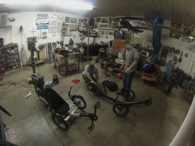 Messy shop in the middle of a trike build