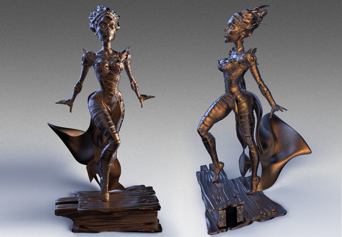 For $500, you can have this beautiful faux bronze maquette of The Bride, sculpted by Warren Manser. Watch out! She is none to be trifled with!