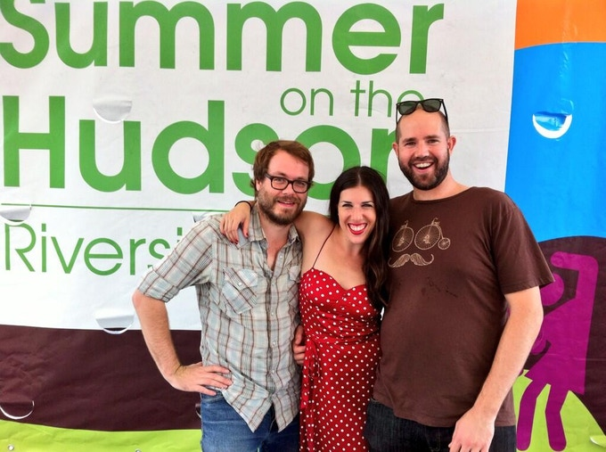 Thomas, Dan and I getting ready to play for a massive crowd at Summer on the Hudson