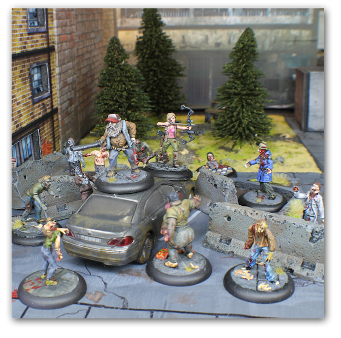 Two survivors attempt to fight off a pack of Shamblers led by a mutated Aberrant! Miniatures by Black Scorpion, Wargames Factory, Tengu, and Studio Miniatures.