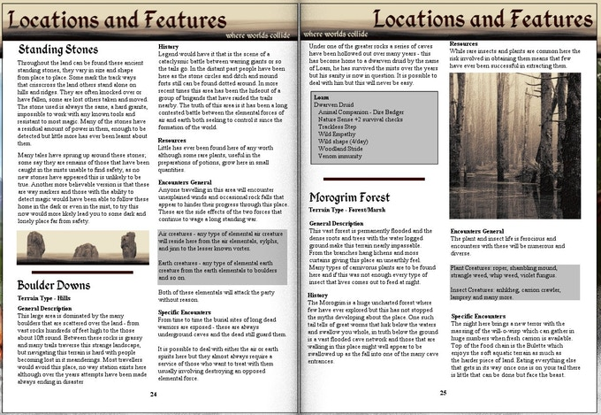 Sample inner page of GM's Guide