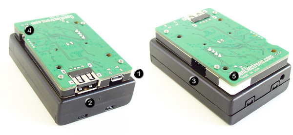 PiUPS with connectors and button.