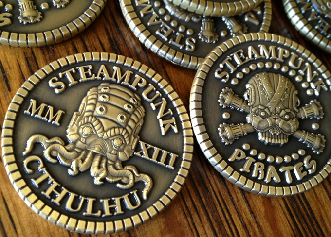 Custom coin, Steampunk Cthulhu with his birthdate on the one side, Steampunk Pirates on the other!
