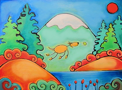 A Dog's Perfect Day, Acrylic on Canvas, 30 x 40 inches