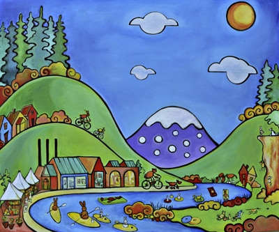 Oregon Daydreams, Acrylic on Canvas, 5 ft. x 6 ft. For St. Charles Pediatric Hospital, Bend, Oregon