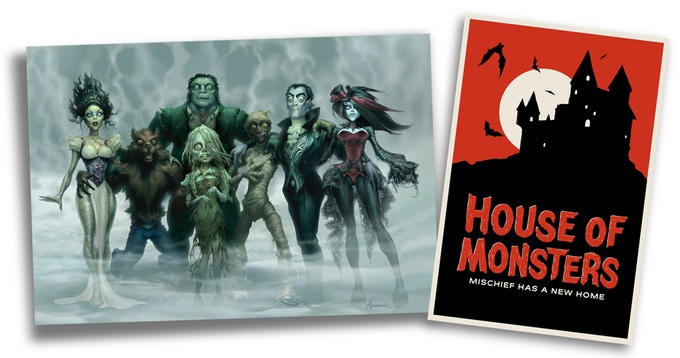 "How about a little wall candy for your tomb? For $200, We're offering two prints, signed by the artists. ""The Monster Lineup"" by Warren Manser, and ""The Castle"" by Dianne Chadwick."