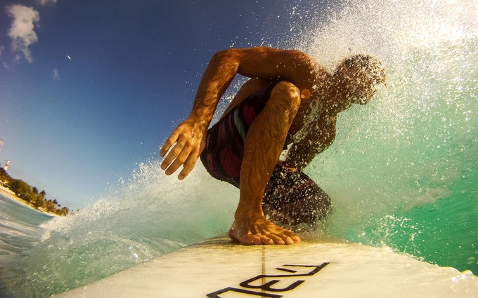 SurfEars' creative director in action field testing (okay, he enjoyed it!)