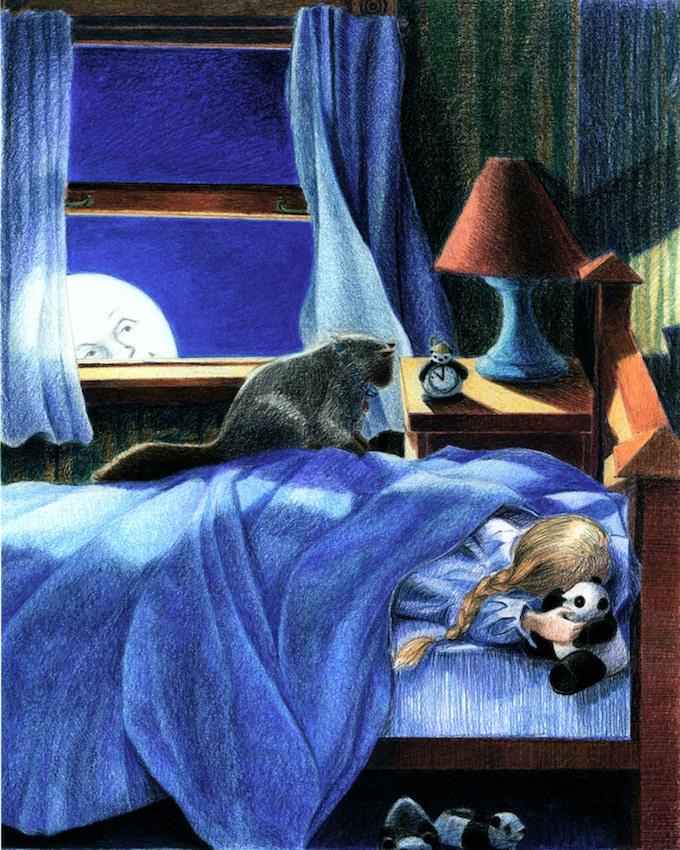 Fine art reward #14: A girl and her cat (and a panda)