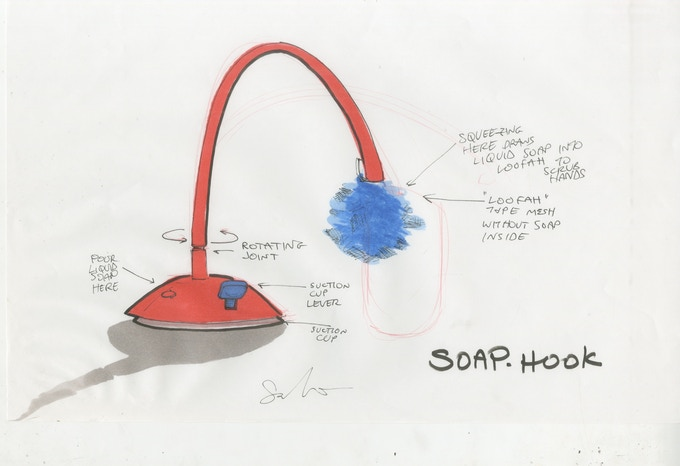 concept sketch with liquid soap and loofah