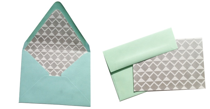Examples of envelope liner and notecard