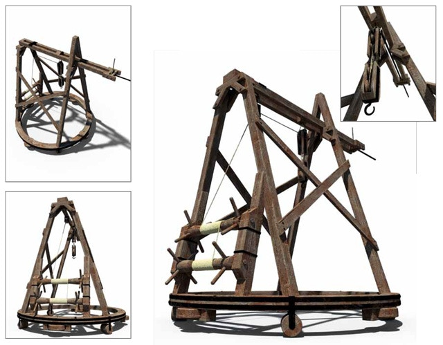 Rotating crane with ring shaped base. By Leonardo, Codex Atlanticus