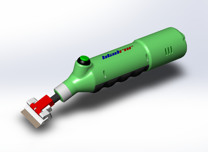 "BLADRNR design #6 production version (Improved ergonomics such as a smaller diameter at grip area and an angled ""start-stop"" push button, larger capacity Battery & new Green color)"