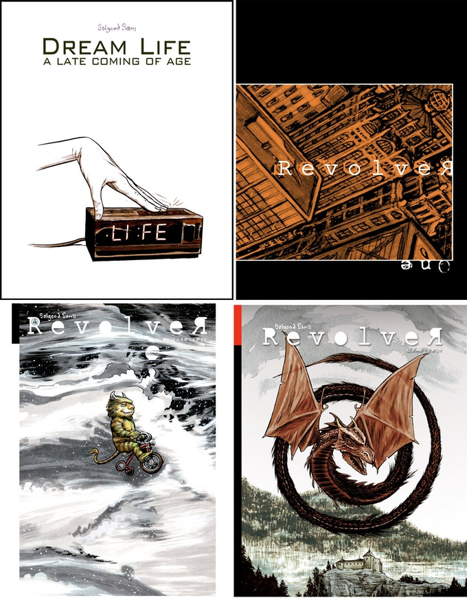 The covers of Dream Life, and Revolver vol.1 to 3.