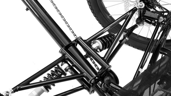 Close-up of front suspension