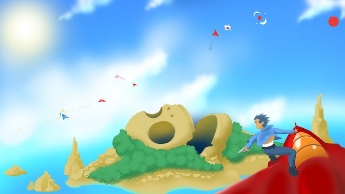 Concept art. Player surfing a jet, seeing other players jumping all over the place, hijacking each other's vehicles, dropping mines.