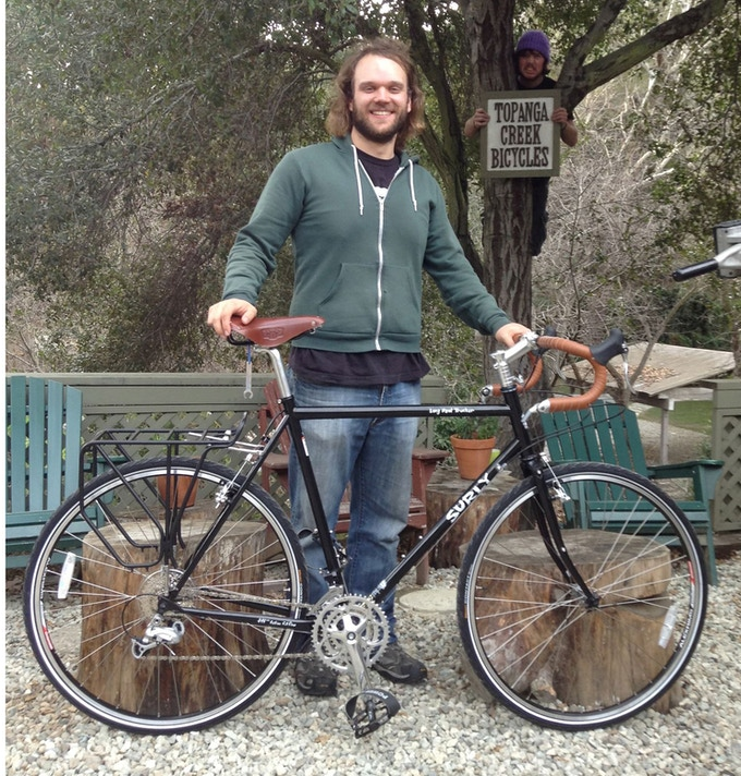 """Harrison picking up """"Jim the Rambler"""" from Topanga Creek Bicycles, they have been the best of friends ever since."""