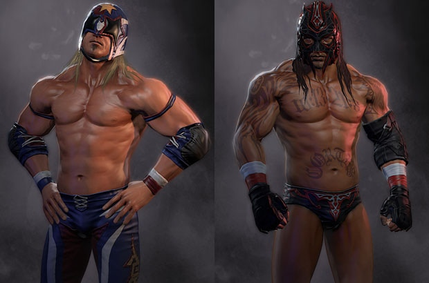 Brand-new character art and models have already been created for Pro Wrestling X. American Grasshopper (left) and the redesigned Tirador.
