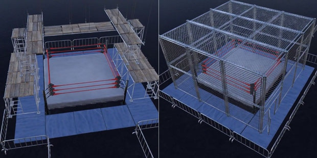 "We have a lot of items on our ""Wrestling Game Dream Feature List."" A scaffold match – the first of its kind in a wrestling game – and the obligatory cell-type cage match are just two ideas."