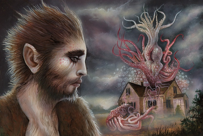 """Wilbur Whateley and Yog-Sothoth"" Original 12""x16"" Painting"