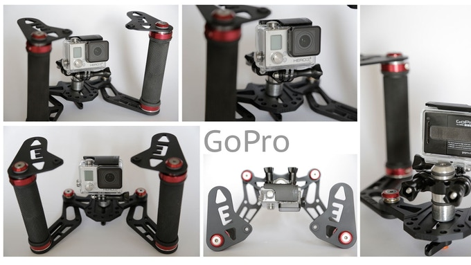 The Eroz Steady Aid can also be attached to the popular GoPro by using a GoPro Handlebar adapter(not included).
