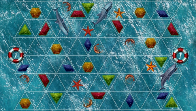 """Board (1 of 3 double-sided game boards). 2-3 boards together form the game board. Notice this is """"board 1"""" which has fewer sharks than the board below."""