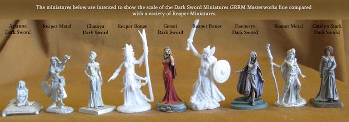 Female Miniatures Size Comparision Between Reaper Miniatures and Dark Sword Miniatures