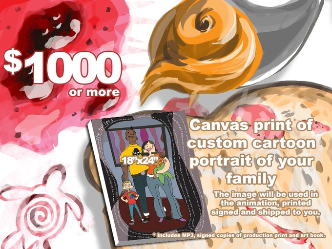 "We will ship signed copies of 18"" x 24"" color custom caricature family portrait ( limit 10 characters ), the 11"" x 17"" glossy color print and production art book. You will also receive the link to download the PBJ Jam MP3."