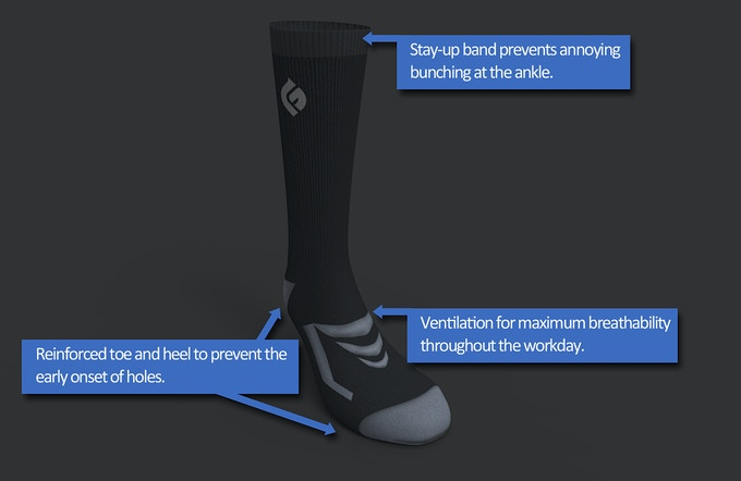 CAD drawing of the GoodFoot sock