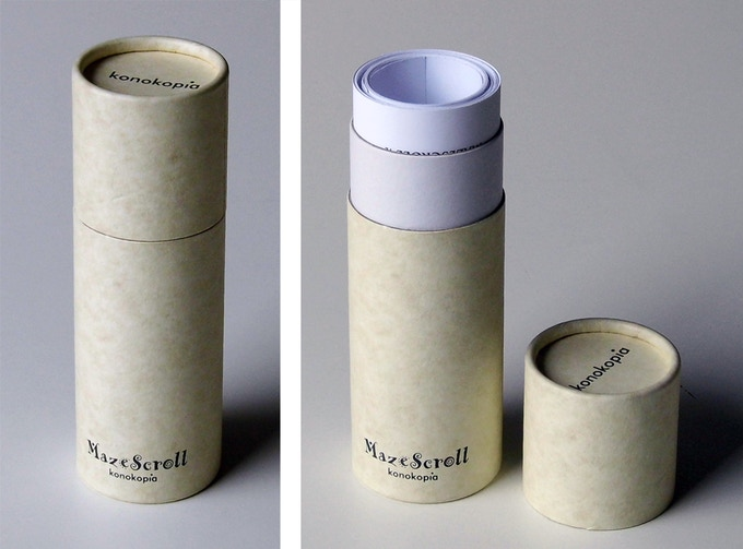 Sample tube packaging. The graphics for the packaging is not final but be aware I like minimalism. The tubes and the boxes for this project will not be glossy and colorful because the MazeScrolls are not glossy and colorful.