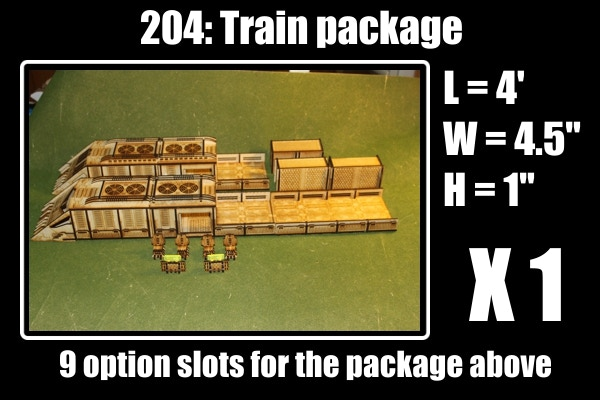 largest kit on the kickstarter.  9 slots for:  2 train engines, 2 access cabs, 2 flatbeds, 3 containers, 10 slide acrylic doors, 8 acrylic windows, 4 chairs and 2 computer consoles. free barrel at 13K