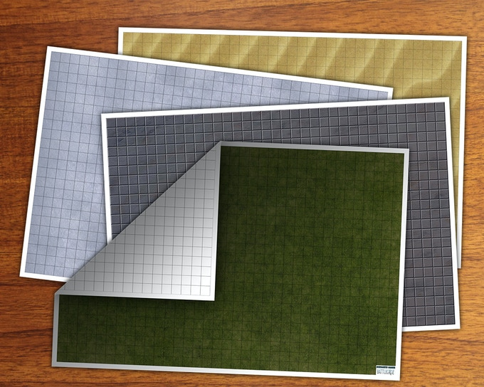 We will offer four different double-sidedBattlegridz in two sizes: 18x24 and 24x36!